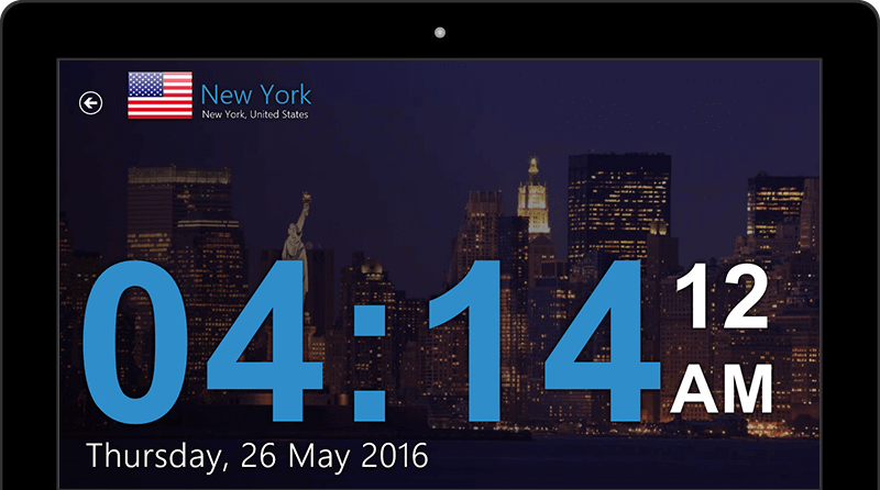 Large full-screen view of time in the city of your choice.