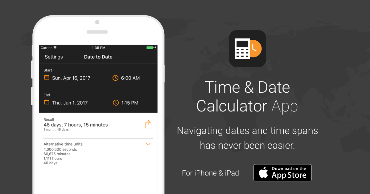 Time & Date Calculator App for iOS