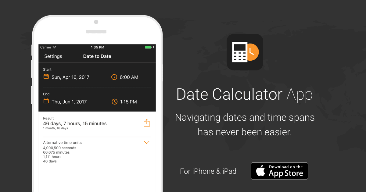 Date Calculator App by timeanddate com - Support