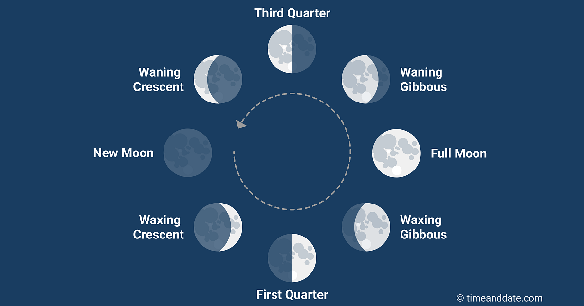 Illustration of the eight phases of the Moon with an arrow showing the order they appear in, seen from Earth.
