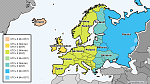 A map of time zones and DST in Europe.