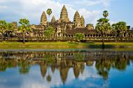 The Angkor Wat temple in Cambodia reflected in the water.