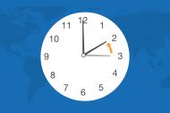 Illustrasjon av et ur som stilles fra klokka 2 til 3.