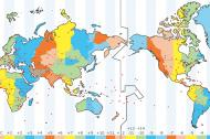 Time Zone map showing the International Date Line.