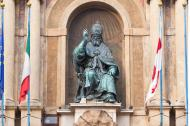 Bronze statue of Bolognese Pope Gregory XIII in Accursio Palace Bologna