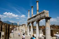 Tourists visit the ruins of the ancient city of Pompeii, Italy.