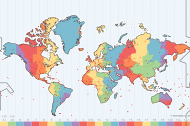 World map with time zones indicated in different colors