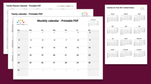 Illustration image of various printable calendars