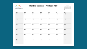 Illustration image of a monthly calendar