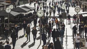 Commuters and tourists in Canary Wharf, London, United Kingdom.