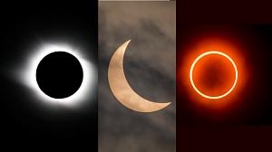 Images of a total solar eclipse, a partial eclipse, and an annular eclipse.