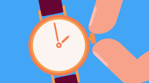 Illustration of fingers changing the time on a wristwatch.