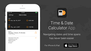 Screen shot from Time & Date Calculator App