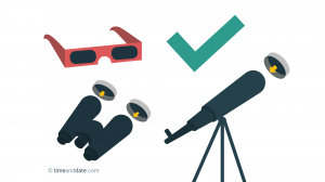 Illustration of eclipse glasses, binoculars and telescope with eclipse safe lens with a green check mark next to them.
