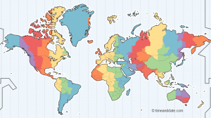 Illustrated map of the world's time zones.