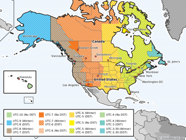 A map of time zones and DST in the US and Canada.