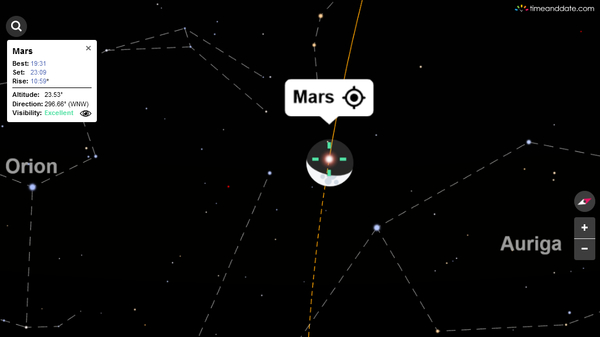 The Moon occults Mars in this screenshot from our Night Sky Map for Singapore on the evening of April 17, 2021.