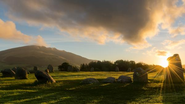 Sunrise at Castlerigg stone circle near Keswick, Lake District, UK.