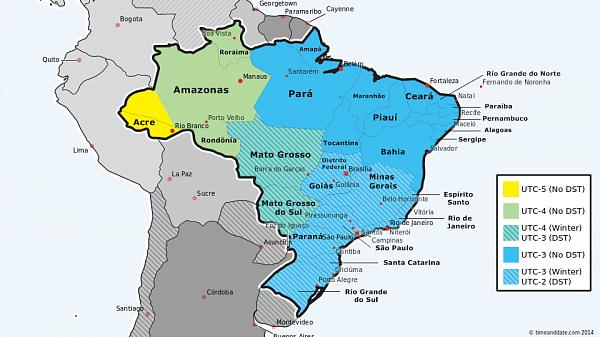 Brazil Time Zone Map DST in Brazil starts on Sunday, October 19, 2014