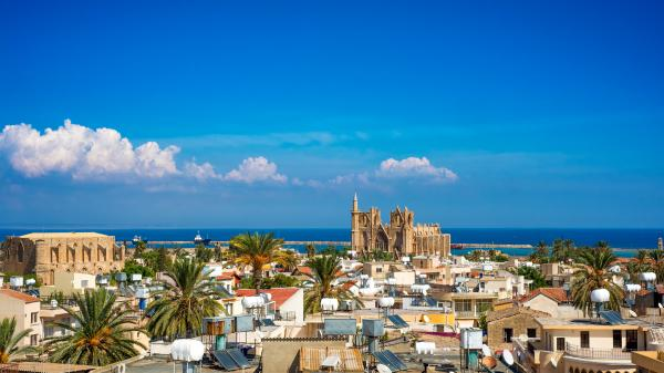Elevated view of old town Famagusta, Cyprus.