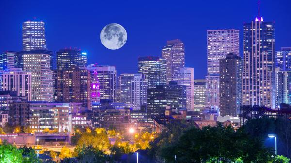 Full Moon over Denver, Colorado, US.
