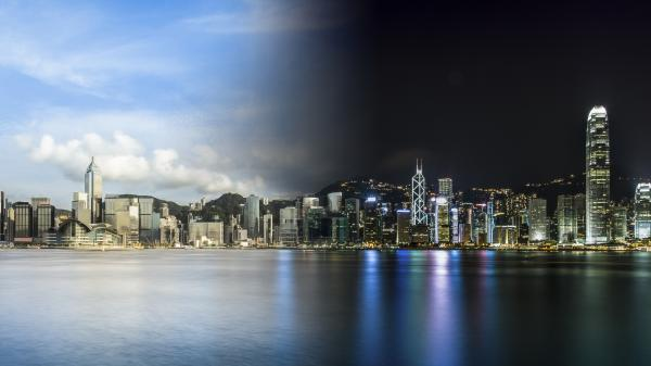 Day and night landscape in Hong Kong, China.