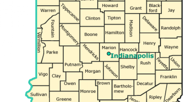 A map of Indiana's counties and time zones.