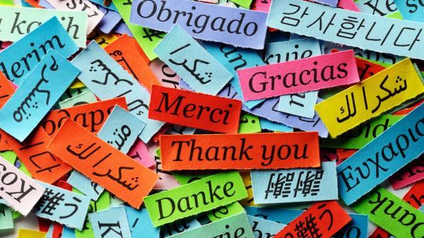 The expression, thank you, in many different languages.