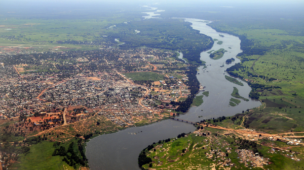 Aerial photo of Juba, South Sudan, with the river Nile.