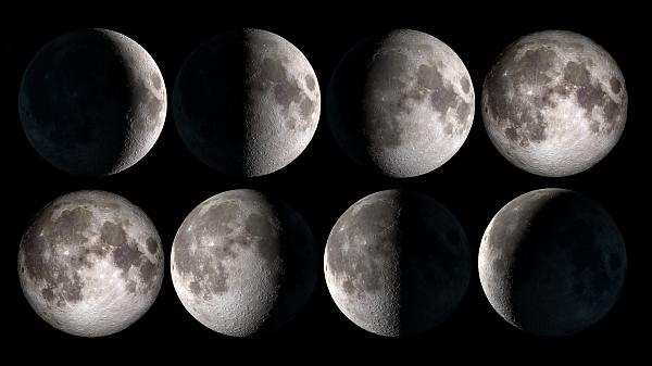 Illustration showing the Moon phases based on Moon images from NASA.