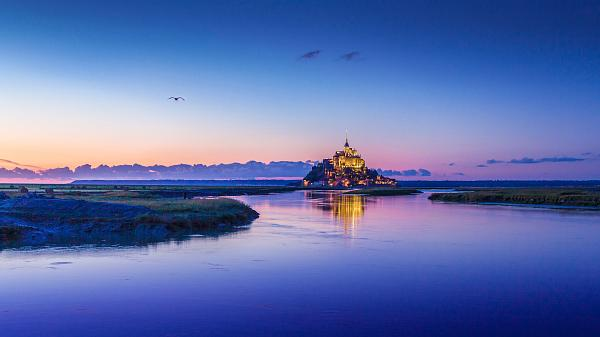 Mont Saint-Michel in twilight.