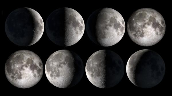 Illustration showing all the different Moon phases next to one another