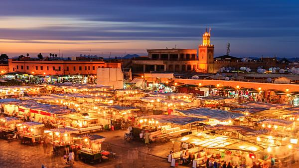 Night view of Djemaa el Fna square, Marrakech, Morocco.
