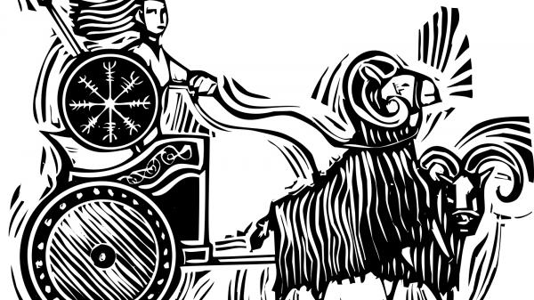 Norse Goddess Frigg riding in a chariot pulled by goats.