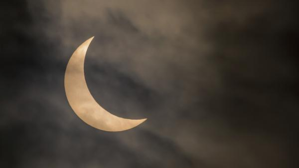 A partial solar eclipse with a high magnitude.