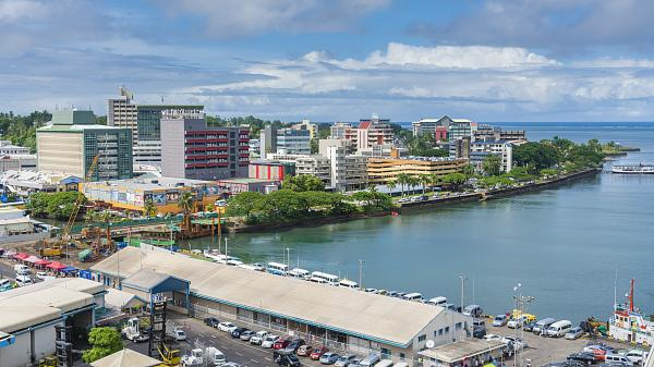 View of the harbour and city centre of Suva, the capital city of Fiji.