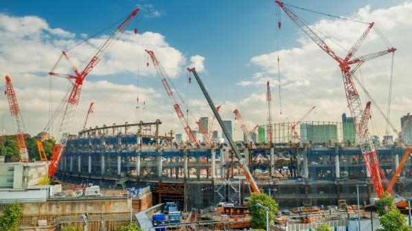 The new Tokyo National Stadium for the 2020 Summer Olympic Games under construction in Shinjuku District, Japan.