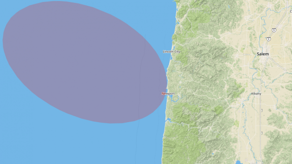 Map showing where the eclipse enters Oregon
