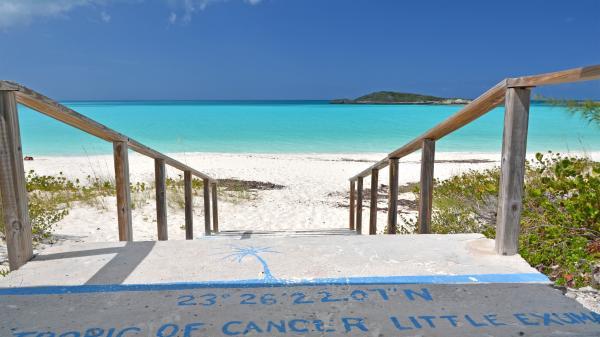 Tropic of Cancer mark at Little Exuma, Bahamas.