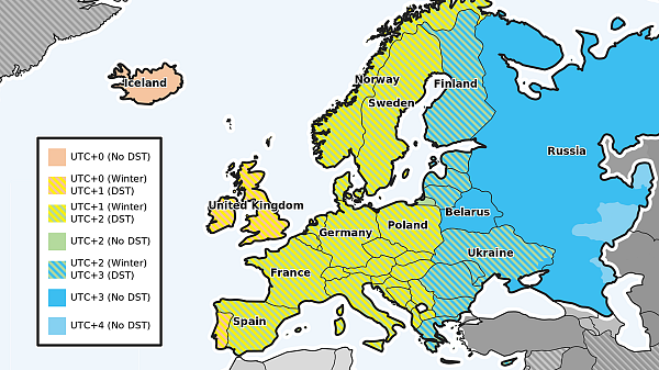 A map showing time zones in Europe.