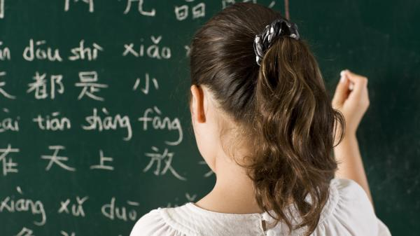 Child learning the Chinese written language.