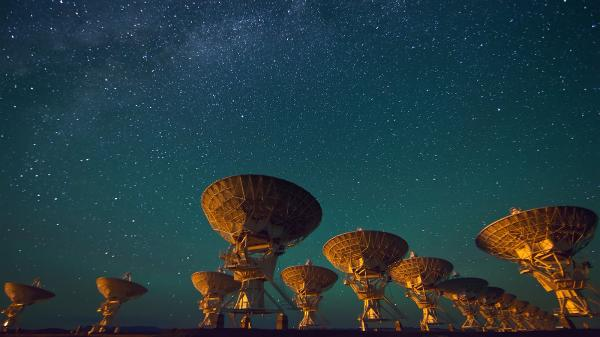 Radio telescopes of the Very Large Array in New Mexico, USA.