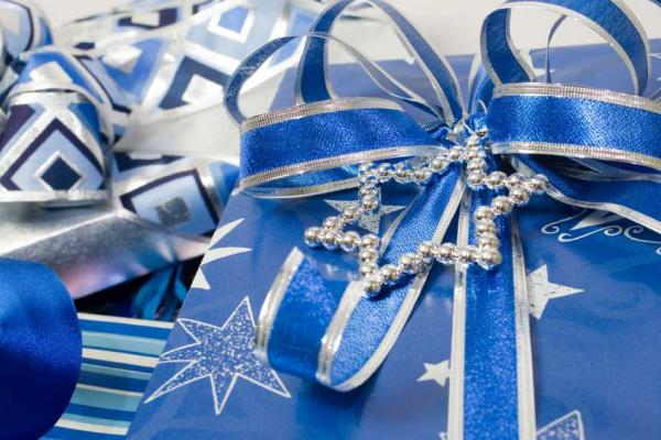 Hanukkah gifts wrapped and ready to be given. Hanukkah gifts wrapped ...