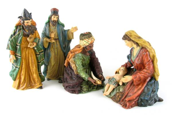 Image of the Nativity scene, 3 wise men adoring baby Jesus.