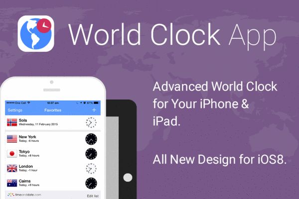 World Clock App for iOS; Includes time zones & converter, DST, sun rise/set, currencies, dialing codes and more.