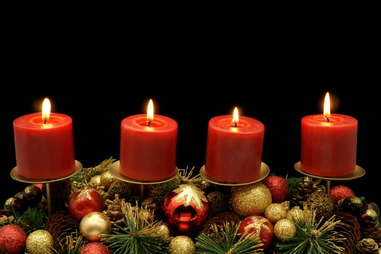 four advent candles with decoration - Christmas Sunday
