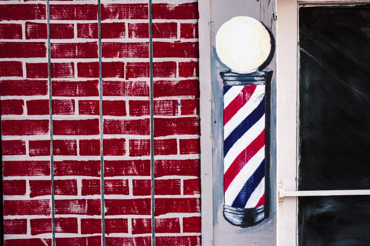 Painting of barbershop pole.