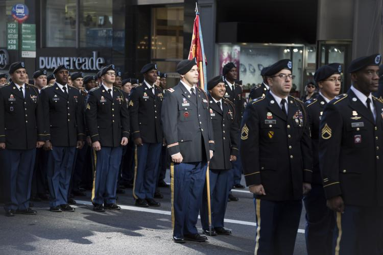 US Army personnel march in Americas Parade up 5th Avenue on Veterans Day in Manhattan.