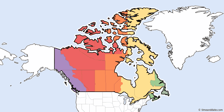 Canadas Time Zones - Live us time zone map