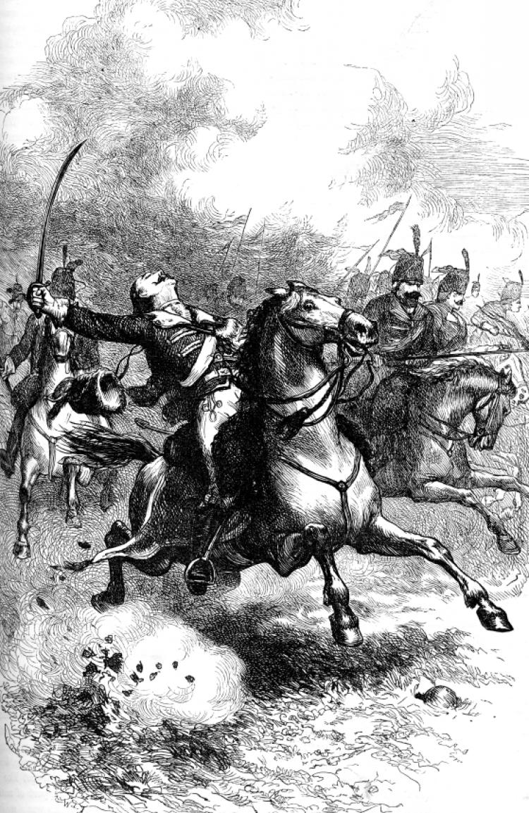 Print of Casimir Pulaski charging with cavalry